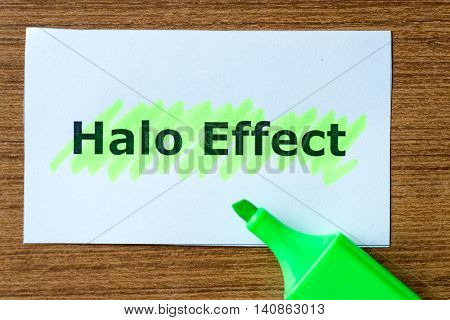 halo effect word highlighted on the white paper poster