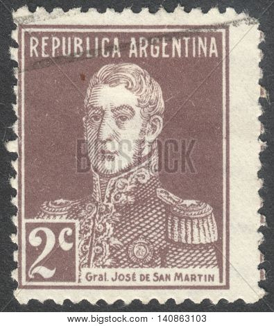 MOSCOW RUSSIA - CIRCA APRIL 2016: a post stamp printed in ARGENTINA shows a portrait of General San Martin the series