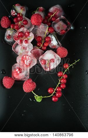 Fresh frozen berries raspberry and red currant