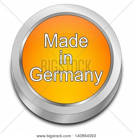 orange Made in Germany button - 3D illustration