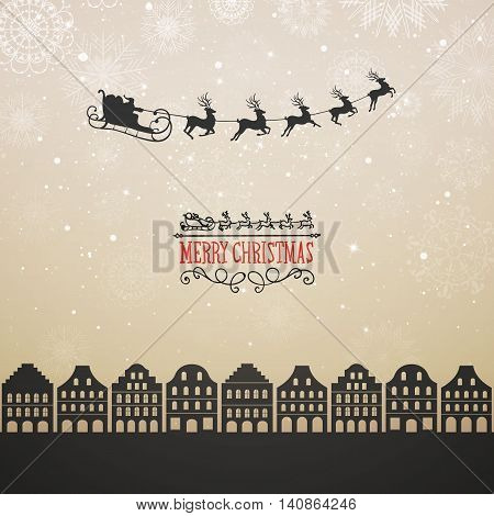 Vector Illustration of Santa Claus Flying over City. Christmas Design