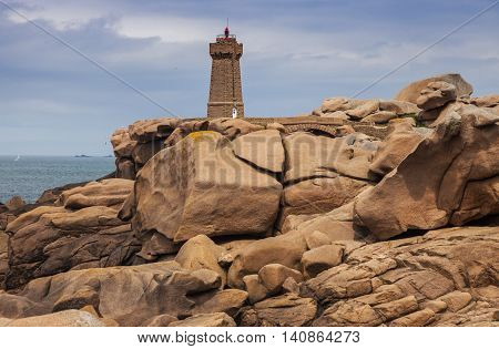 Ploumanach Lighthouse seen afternoon. Perros-Guirec Brittany France