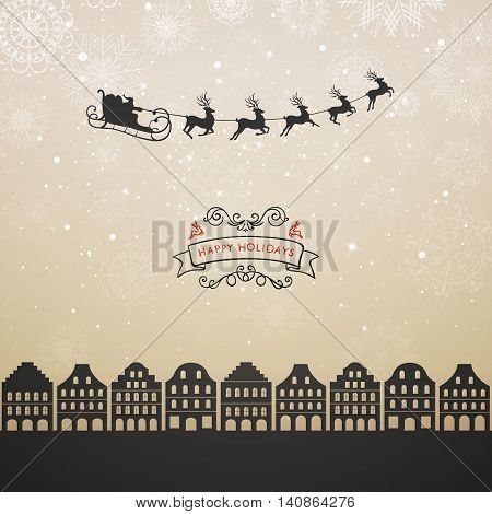 Vector Illustration of a Santa Claus Flying over City. Christmas Design