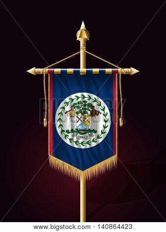 Flag Of Belize. Festive Banner Vertical Flag With Flagpole
