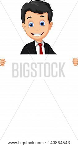funny Business man cartoon holding blank sign