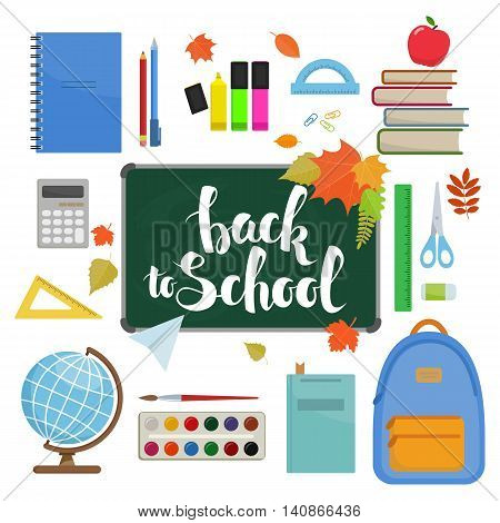 Set of different items for education. Back to school icons. Vector stock illustration.