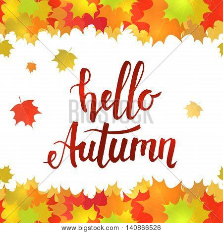 Horizontal seamless border of colorful yellow leaves on a white background. Handwritten lettering Hello autumn. Vector stock illustration.