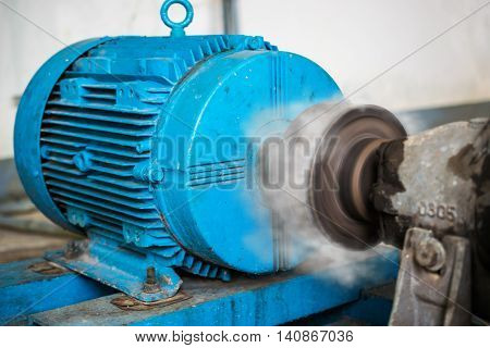 motor equipment with smoke in factory for water pump
