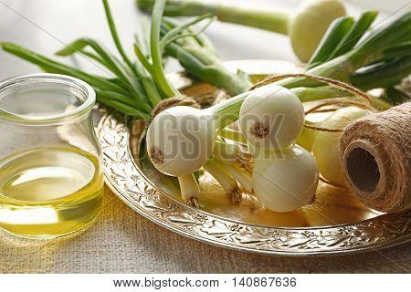 New onion for storage, closeup