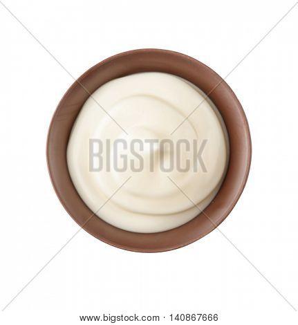 Bowl of fresh cream isolated on white