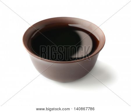 Fresh soy sauce isolated on white