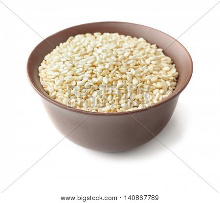 Bowl with white sesame isolated on white