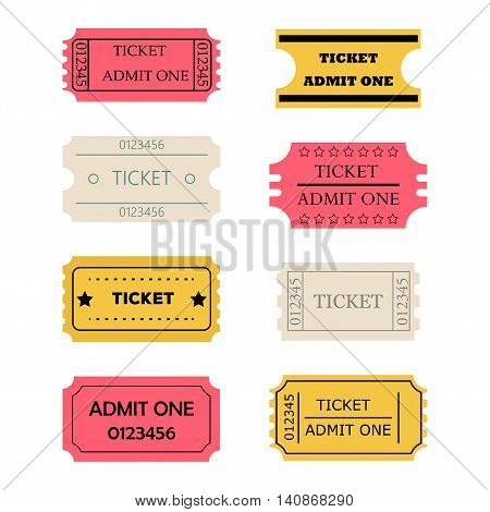 Ticket admit one set. Vector illustration of theatre cinema concert old style pass coupon of pink? yellow pale paper colors isolated on white background