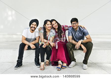 Indian Friends Sitting Happy Concept