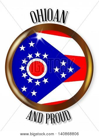 Ohio state flag button with a gold metal circular border over a white background with the text Ohioan and Proud