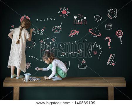 Imagine Kids Freedom Education Icon Concept
