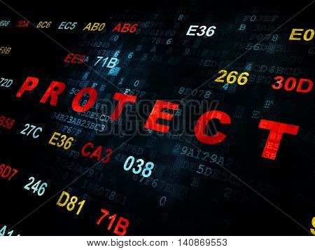 Protection concept: Pixelated red text Protect on Digital wall background with Hexadecimal Code
