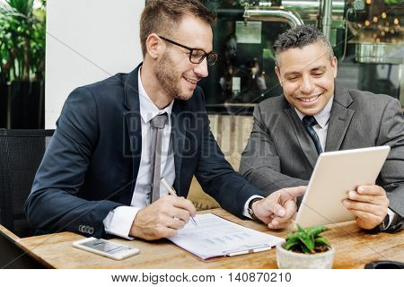 Businessmen Happy Technology Outdoors Concept