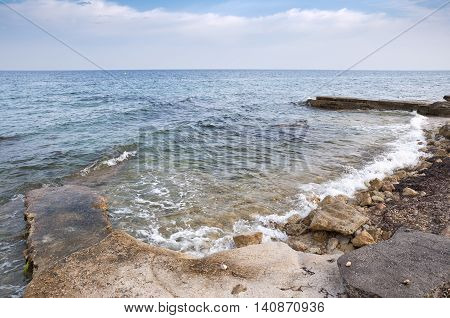 Breakwater. Picture taken in Santa Pola town. It is a coastal town located in the comarca of Baix Vinalopo in the Valencian Community Alicante Spain by the Mediterranean Sea.