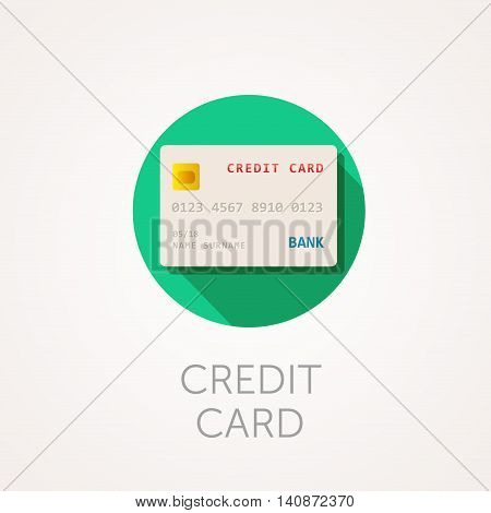 Credit card Icon. Flat design style with long shadow. Credit mortgage shopping or money icon. Bank plastic card with card number. App icon