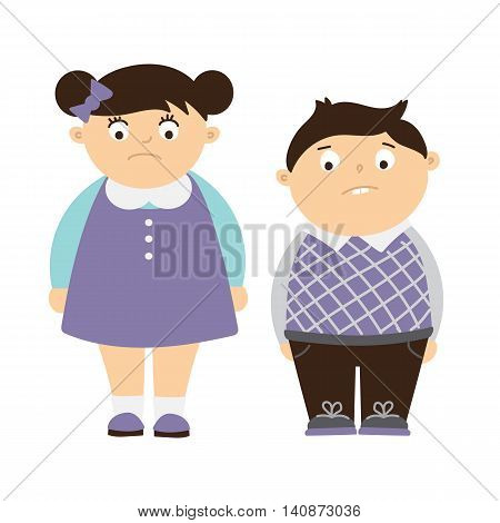 Isolated sad fat children on white background. Concept of children obesity and bullying overweight kids. Sad boy and girl.