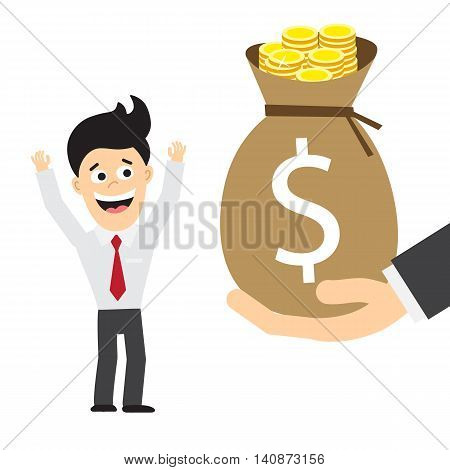 Happy businessman gets money bag. Concept of salary, charity and financial help. Money bag with dollar symbol.