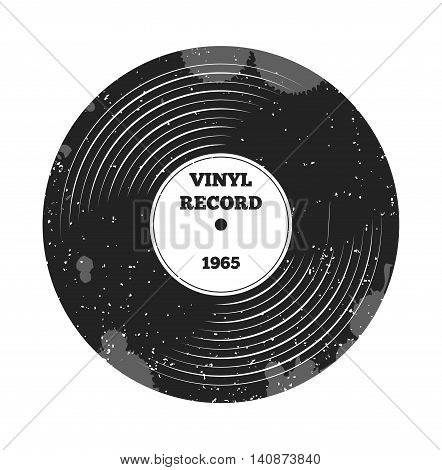 Gramophone vinyl LP record. Radio, rock'n'roll. Music sound. DJ retro music. Vinyl record. Label and badge for radio, pod cast, melody, rock'n'roll, stereo, music, sound, disco party, nostalgia sings