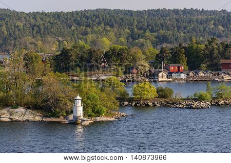 Sweden spring scenery, Stokholm district, view from boat