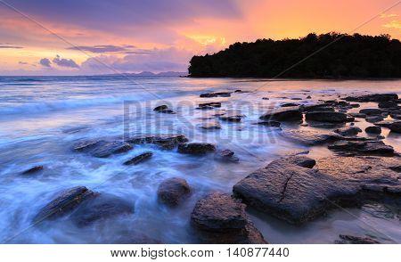 Seascape of Klong muang beach at sunset Krabi Southern of Thailand