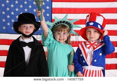 Kids dressed up in patriotic costumes