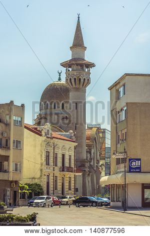 Constanta Romania - July 18 2016:The Great Mahmudiye Mosque. Grand Mosque of Constanta originally known as the Carol I Mosque was built in 1910 by King Carol I