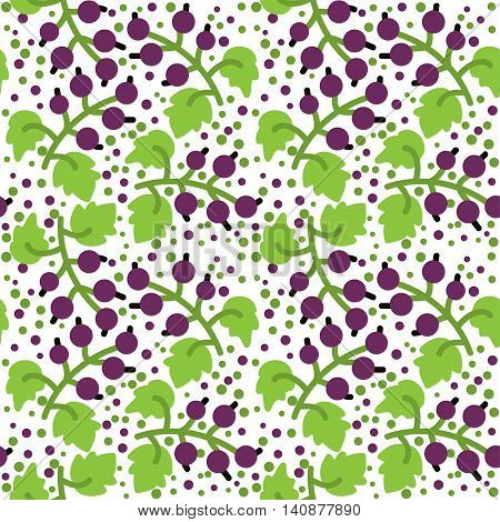 Seamless pattern with decorative berries black currants