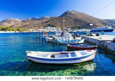 traditonal fishing boats in Katapola port, Amorgos island, Greece