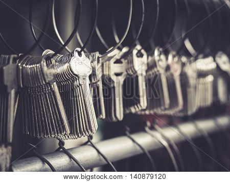 Locksmith Key shop Business many key chain in bunches