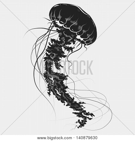 Hand drawn graphic jellyfish. Vector illustration. Tattoo sketch. Sea collection. Isolated on a white background. EPS 10
