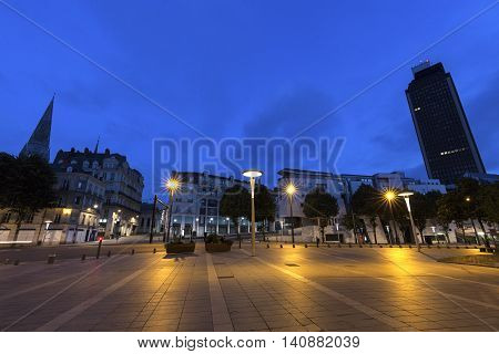 Nantes architecture at night. Nantes Pays de la Loire France