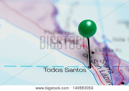 Todos Santos pinned on a map of Mexico