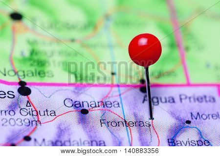 Fronteras pinned on a map of Mexico