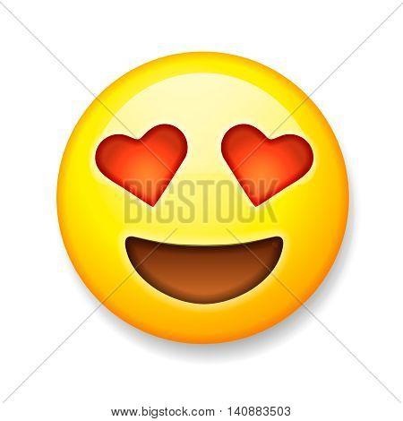 Emoji with heart-shaped eyes, isolated on white background, emoticon smiling face, vector illustration.