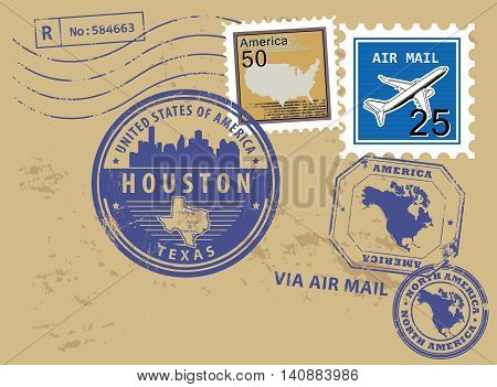 Grunge rubber stamp set with name of Texas, Houston, vector illustration