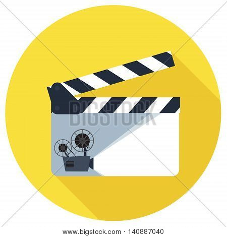 Open clapper board icon in flat style. The concept of symbol video files. The open movie clapper board isolated from the background.