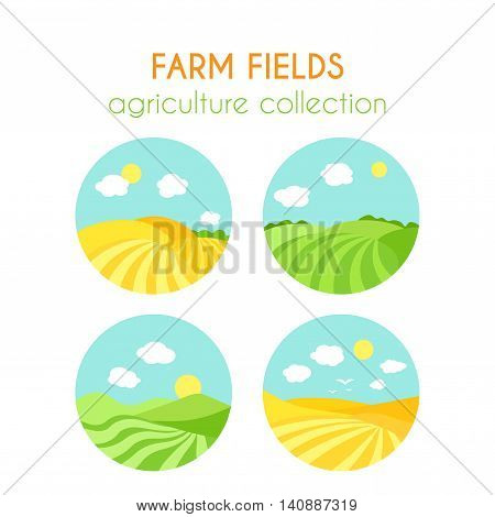 Set of farm fields landscapes. Round badges with crop in field. Cartoon green field of sowing. Summer scene with hills and land. Flat argiculture collection.