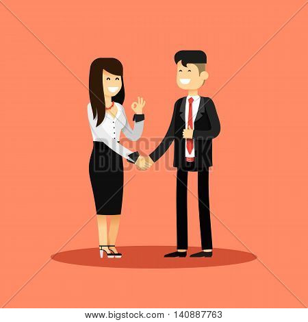 Business woman and man of transaction, in black white costume vector illustration. Office staff, isolated characters girl happy face, people success, manager and employee. Business concept in flat.