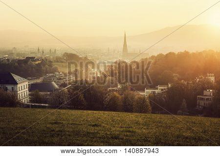 Linz panorama at sunrise. Linz Upper Austria Austria.