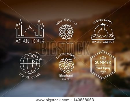 Asian travel logo templates set. Vector ethnic ornamental design for travel agencies, tourist offices, local guides, booking and rental services.