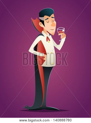 Cartoon Halloween Vampire Gentleman Savors Drink Glass of Blood