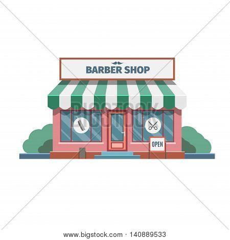 Barber in the barber shop in town. Vector Illustration.