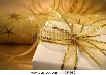 Golden bow on gift