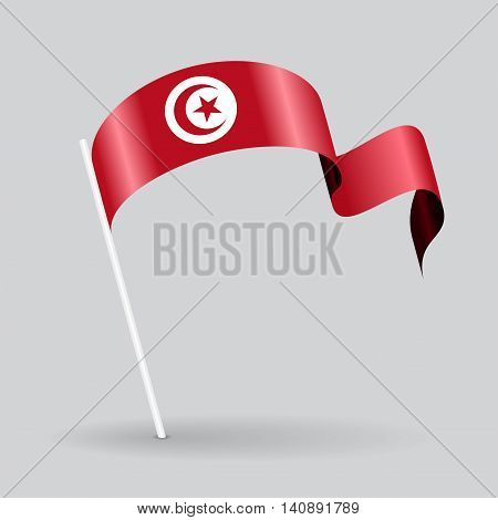 Tunisian pin icon wavy flag. Vector illustration.