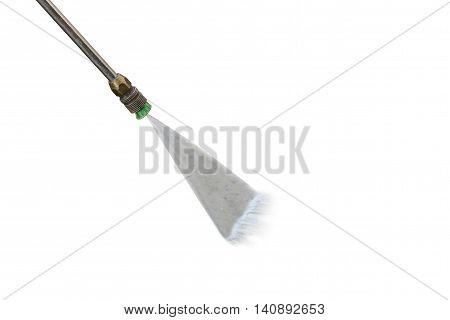 Outdoor Floor Cleaning With High Pressure Water Jet Isolated On White. Saved With Clipping Path
